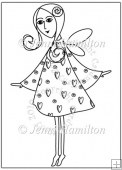 Flirty Fairy Digital Stamp/Line Art