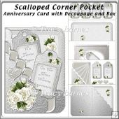 Scalloped Corner Pocket Anniversary with Decoupage & Box