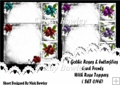4 8X8 Card fronts of roses in ornate frames (set one)