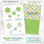 Paper Shapers Flowers - Green Dots & Plaid