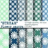 STREAM - Flower Papers - 12 high quality A4 size digital papers