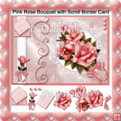 Pink Rose Bouquet With Scroll Border
