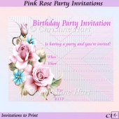 Pink Rose Party Invitations