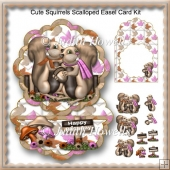 Cute Squirrels Scalloped Easel Card Kit