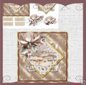 Vintage Christmas and Christmas rose card with decoupage