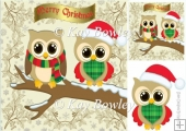 Cute owls on a branch with snow 8x8