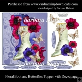Floral Boot and Butterflies Topper with Decoupage