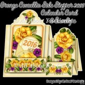 Orange Camellia Side Stepper 2016 Calendar Card & Envelope