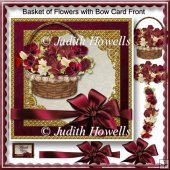 Basket of Flowers with Bow Card Front