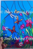 Flowers and Butterflies - great for Stained glass vinyl, paper
