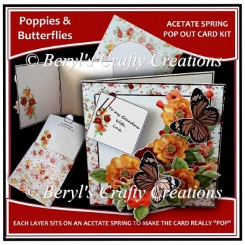 Acetate Spring Pop Out Card - Poppies & Butterflies