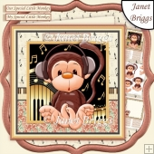 LITTLE MONKEY WITH HEADPHONES 8x8 Decoupage & Insert Mini Kit