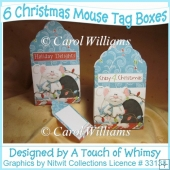 6 Christmas Mouse Tag Boxes
