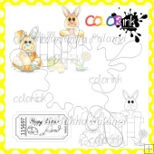 Easter Bunnies and Sentiment Digital Stamps