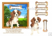King Charles Spaniel Puppy Dog And Bone 6 x 6 Card Topper