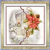 Vintage Christmas window 7x7 card with decoupage