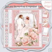 WEDDING DAY BRIDE & GROOM Coral Grey 7.5 Decoupage & Insert Kit