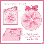 Pink Ponsettia 3D Bauble Card And Box Kit