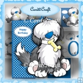 Shaggy dog shaped card set
