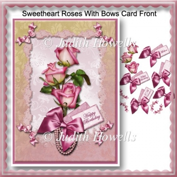 Sweetheart Roses With Bows Card Front