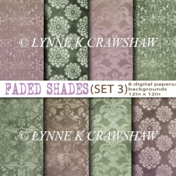 FADED SHADES - SET 3 digital papers (8) each 12in x 12in