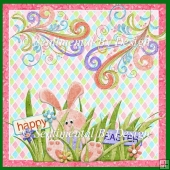Happy Easter Bunny Card Front with Decoupage Layer