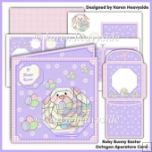Ruby Rabbit Easter Octagon Aperature Card