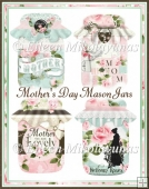 Cottage Chic Mother's Day Mason Jars for Cards, Tags, Crafts