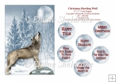 Christmas Howling Wolf - 5 x 7 Card Topper & Assorted Greetings