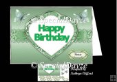 Happy birthday in heart green