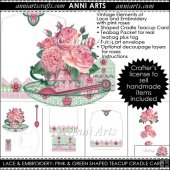 Lace and Embroidery: Pink and Green Teacup Cradle Card
