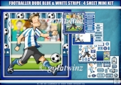 Footballer Dude Blue and White Stripe 4 Sheet Mini Kit