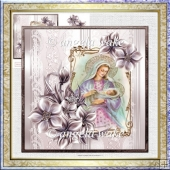 Mary and baby Jesus 7x7 card with decoupage