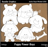 Puppy Power Boys Colour Your Own Reseller Clipart