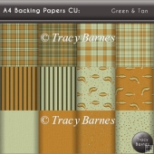 A4 Backing Papers: Green & Tan