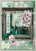 Nostalgia Lady's Sewing Shadowbox Card Front