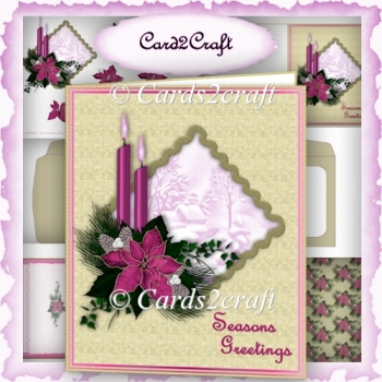 Pink poinsettia Christmas card set