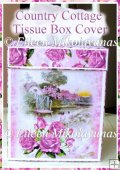 Country Cottage Kleenex Tissue Box Cover with Directions