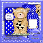 Chubby Cubby Blue Football Bear Shaped Card