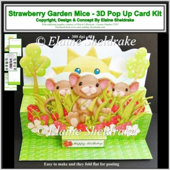 Strawberry Garden Mice - Giant 3D - A4 Pop Up Card Kit