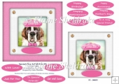 Spectacle Dogs In Pink Hats (1) - 6 x 6 Card Topper & Greetings