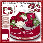 Romantic Roses On Gift Box Shaped Card Kit