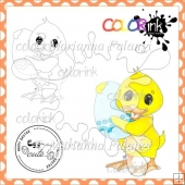 Love My Egg Chicken and Sentiment Digital Stamp