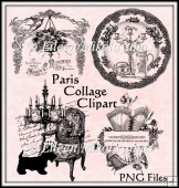 Paris Collage Clipart for Designers, Crafters