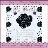 Rose Card Front - Pale Blue