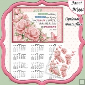 PALE PINK ROSES 2019 A4 Calendar with Decoupage Mini Kit