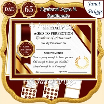 AGED TO PERFECTION Humorous A5 Certificate Age & Insert Card Kit