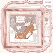 DEER & RABBITS 7.5 Christmas Decoupage & Insert Kit
