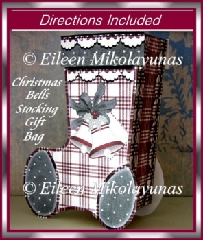 Christmas Bells Dimensional Stocking Gift Bag with Directions
