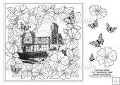 "Roses Around The Tudor House 8"" x 8"" Digi Stamp With Decoupage"